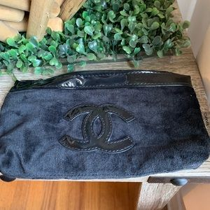 Simple authentic black Chanel makeup to go bag